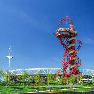 View of the London Stadium and ArcelorMittal Orbit